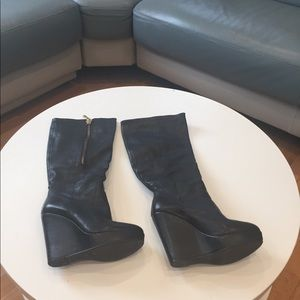 Steve Madden knee high leather wedge boots